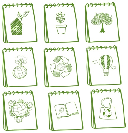 preserving: Illustration of the notebooks with eco-friendly drawings on a white background