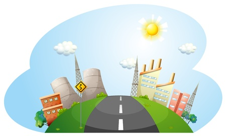 Illustration of a road going to the city with factories on a white backround  Vector