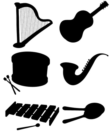 xylophone: Illustration of the six silhouettes of musical instruments on a white background Illustration