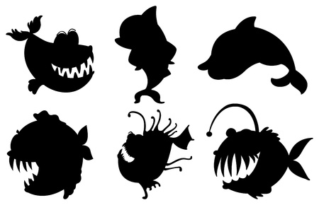 lllustration: lllustration of the six silhouettes of fishes with big fangs on a white background