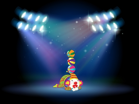 centerstage: Illustration of a clown doing some tricks at the center of the stage