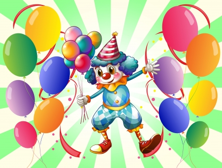 Illustration of a clown between a group of balloons Vector