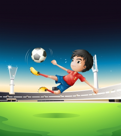 Illustration of a boy in a red uniform at the soccer field Vector