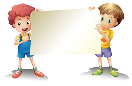 Illustration of the two young boys holding an empty signage on a white background Vector