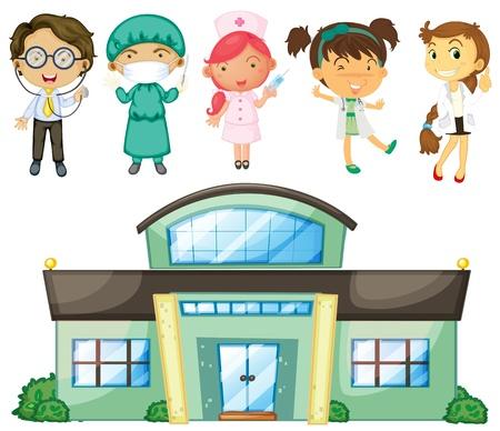 pediatra: Ilustraci�n de los m�dicos y enfermeras en el hospital en un fondo blanco Vectores