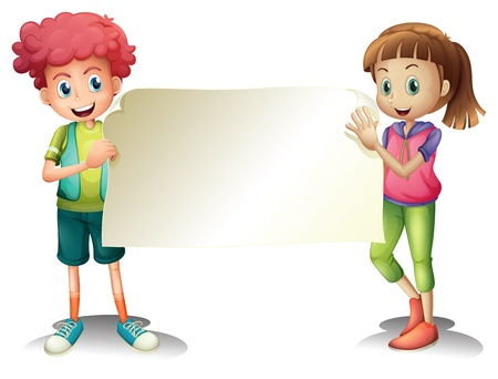 Illustration of the two kids holding an empty signage on a white background  Vector