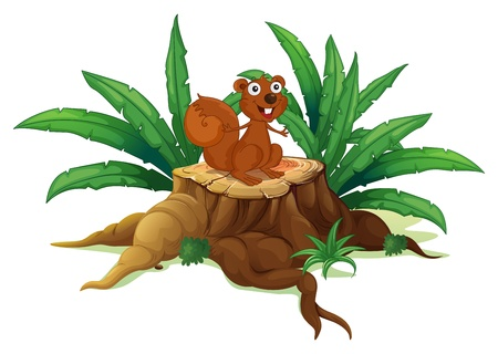 tree stump: Illustration of a squirrel on a stump with leaves on a white background