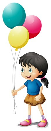 balloon woman: Illustration of a cute litte girl holding balloons on a white background Illustration