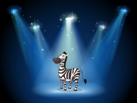 stageplay: Illustration of a zebra at the stage with spotlights