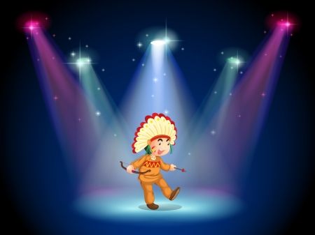 alone man: Illustration of an Indian boy dancing with spotlights