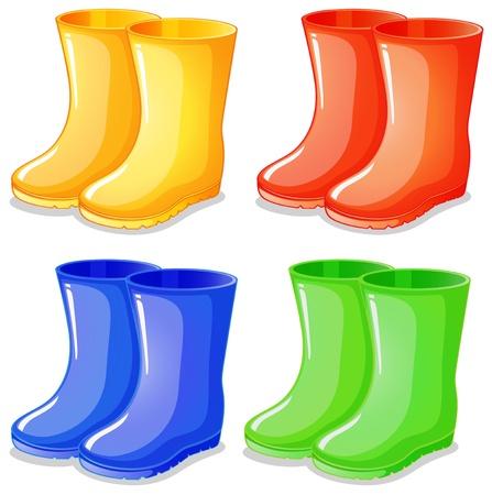 Illustratie van de vier laarzen in verschillende kleuren op een witte achtergrond