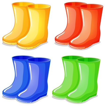 mud and snow: Illustration of the four boots in different colors on a white background