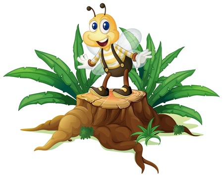 timber cutting: Illustration of a stump with a happy bee on a white background