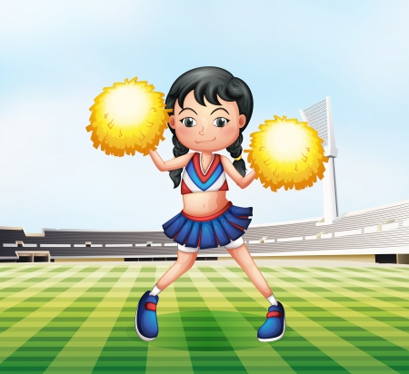 Illustration of a cute cheerdancer at the soccer field Vector