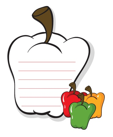 Illustrataion of a bell pepper shaped stationery on a white background