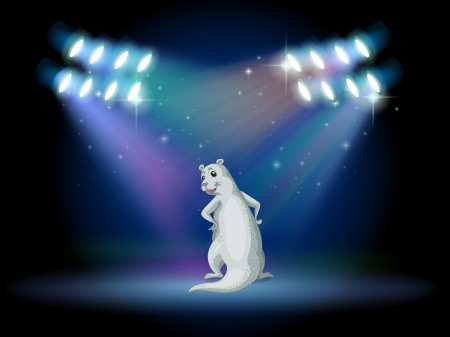 stageplay: Illustration of an animal standing with spotlights Illustration