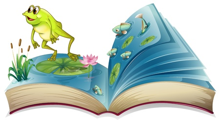 read book: Illustration of a book witn an image of a frog and fishes on a white background
