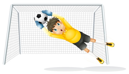 Illustration of a boy practicing to catch the soccer ball on a white background Stock Vector - 19645199