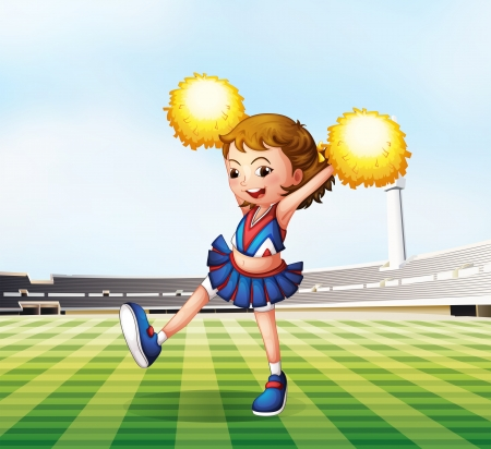 Illustration of a soccer field with a cheerdancer Vector