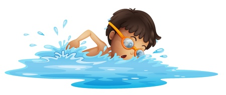 Illustration of a young boy swimming with a yellow goggles on a white background