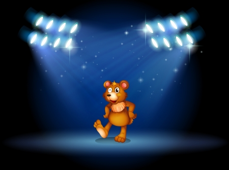 Illustration of a stage with a bear dancing at the center Vector