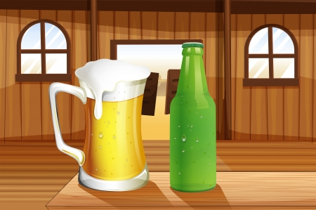 quencher: Illustration of a beer and a bottle of softdrink at the table Illustration