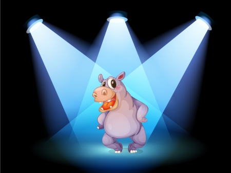 Illustration of a hippopotamus standing at the stage with spotlights