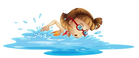 small girl: Illustation of a small girl swimming on a white background Illustration