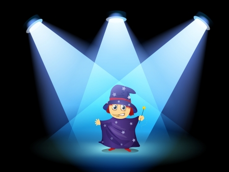 stageplay: Illustration of a magician standing at the stage with spotlights