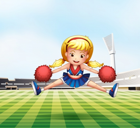 outdoor seating: Illustration of a young cheerdancer performing at the field Illustration