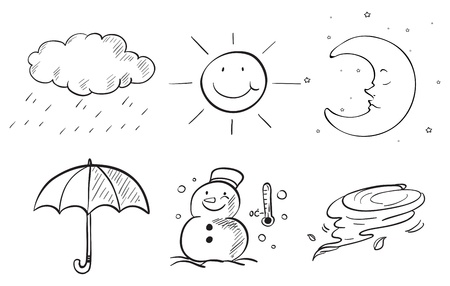 raining background: Illustration of the silhouettes of the different seasons on a white background Illustration