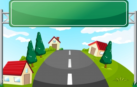Illustration of a long road and a green signboard