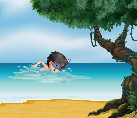 lllustration eines Jungen schwimmen in der Nähe eines alten Baumes Vektorgrafik
