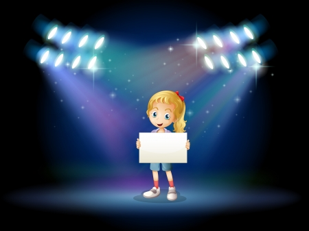 spotted ray: Illustration of a stage with a young girl holding an empty signage