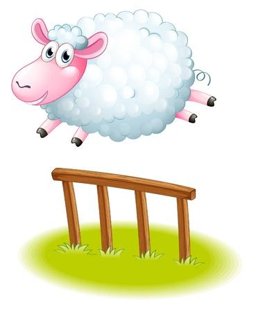 Illustrazione di una pecora che salta su uno sfondo bianco