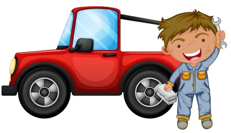 car fix: Illustration of a boy fixing the red jeep on a white background