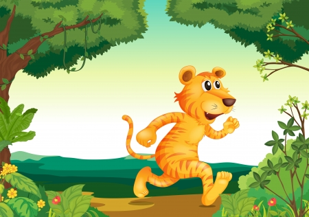 Illustration of a tiger running along the forest Stock Vector - 19645412