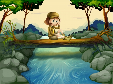 Illustration of a girl sitting at the wood Vector
