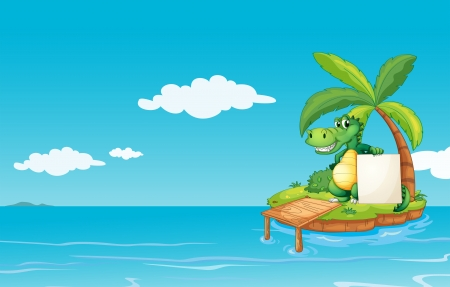 the land of menu: Illustration of an alligator holding an empty banner Illustration