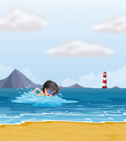 parola: Illustration of a boy swimming in the sea near the lighthouse