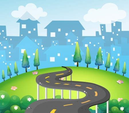 curve road: Illustration of a curve road at the top of the hill