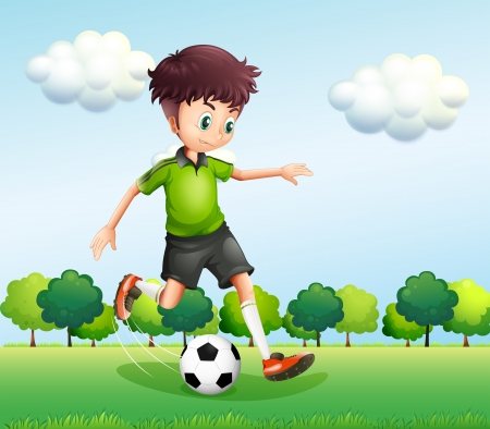 Illustration of a boy with a green t-shirt playing football Vector