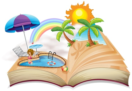storyteller: Illustration of a book with an image of a pool on a white background