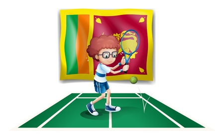 srilanka: Illustration of a boy playing tennis in front of the Sri Lanka flag on a white background
