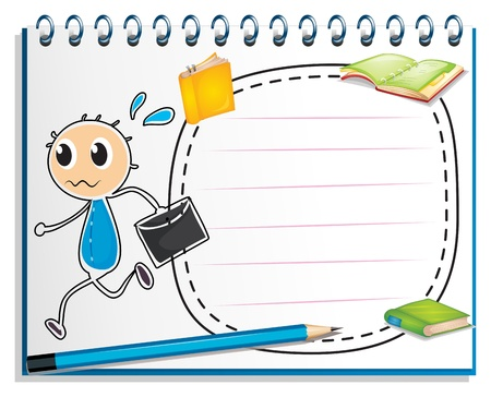 Illustration of a notebook with a drawing of a boy holding an envelope on a white background Vector