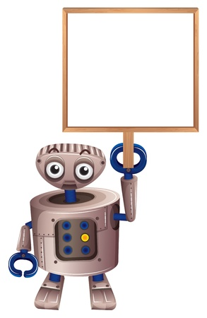 computerized: Illustration of a robot holding an empty board on a white background