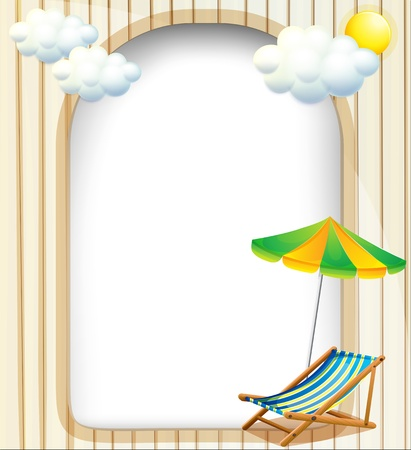 Illustration of an empty entrance template with an umbrella and a foldable bench Stock Vector - 19645396