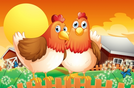 Illustration of a farm with two hens above the fence Stock Vector - 19645434
