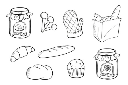 Illustration of a doodle design of bread and jam on a white background Vector