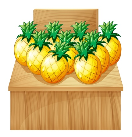 Illustration of a pineapple fruitstand with an empty board on white background Stock Vector - 19645273